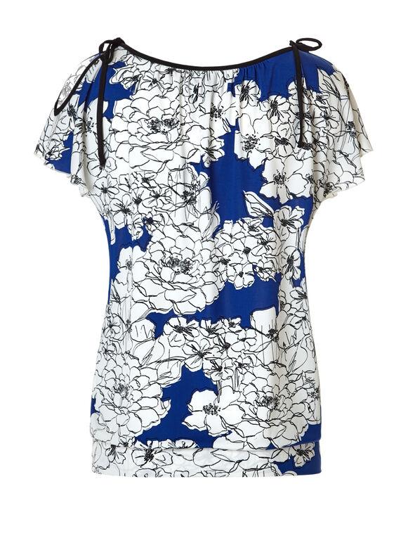 Blue Floral Shoulder Tie Top, Blue/White/Black, hi-res