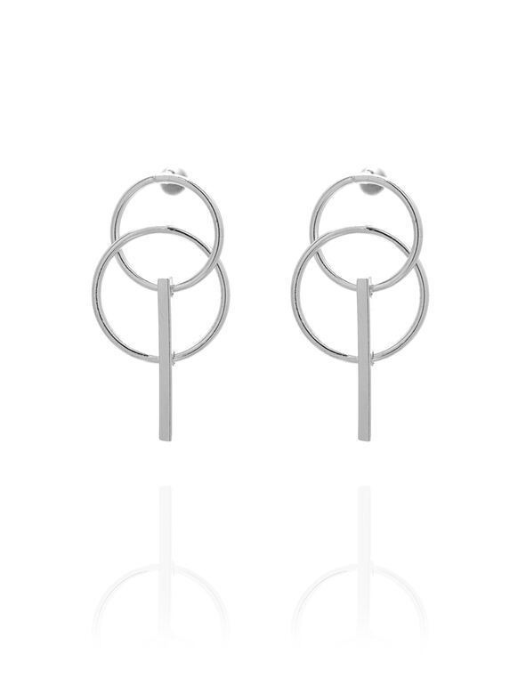 Silver Geometric Bar Earring, Silver, hi-res