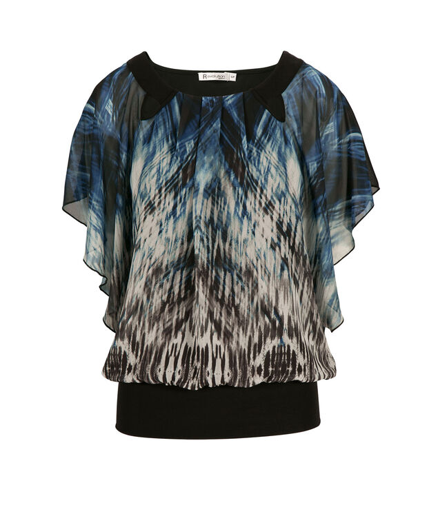 Dolman Pleat Neck Top, Deep Teal Print, hi-res