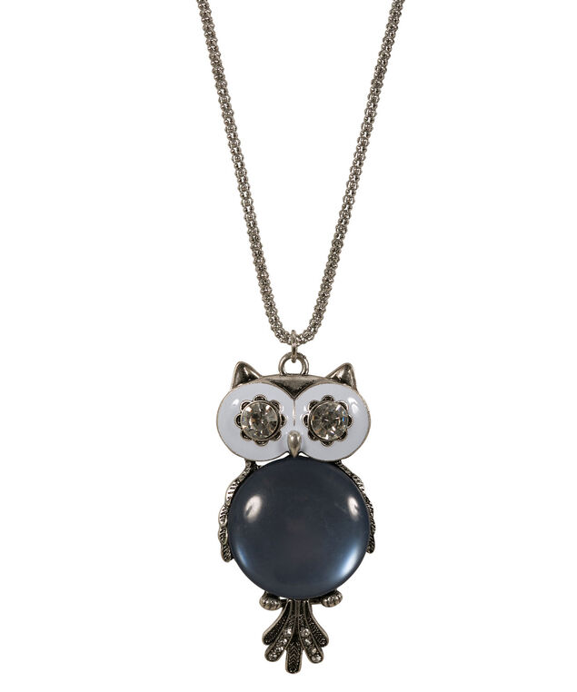 Owl Pendant Necklace, Soft Indigo/Rhodium, hi-res