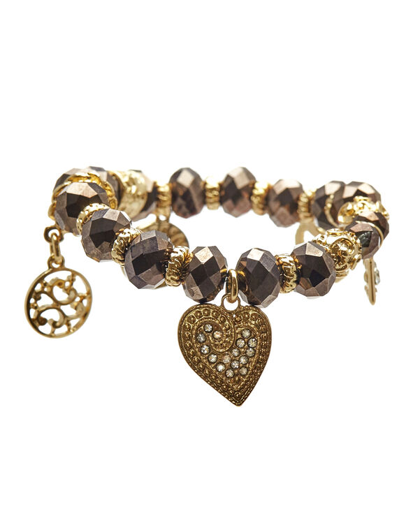 Neutral Bead Stretch Bracelet, Gold/Neutral, hi-res