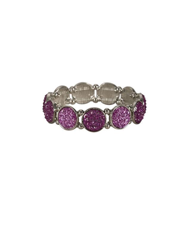Circular Stone Bracelet, Violet/Rhodium, hi-res