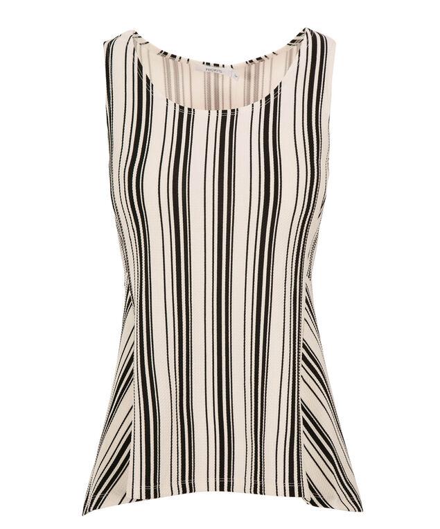 Black Stripe Peplum, Black/White Print, hi-res