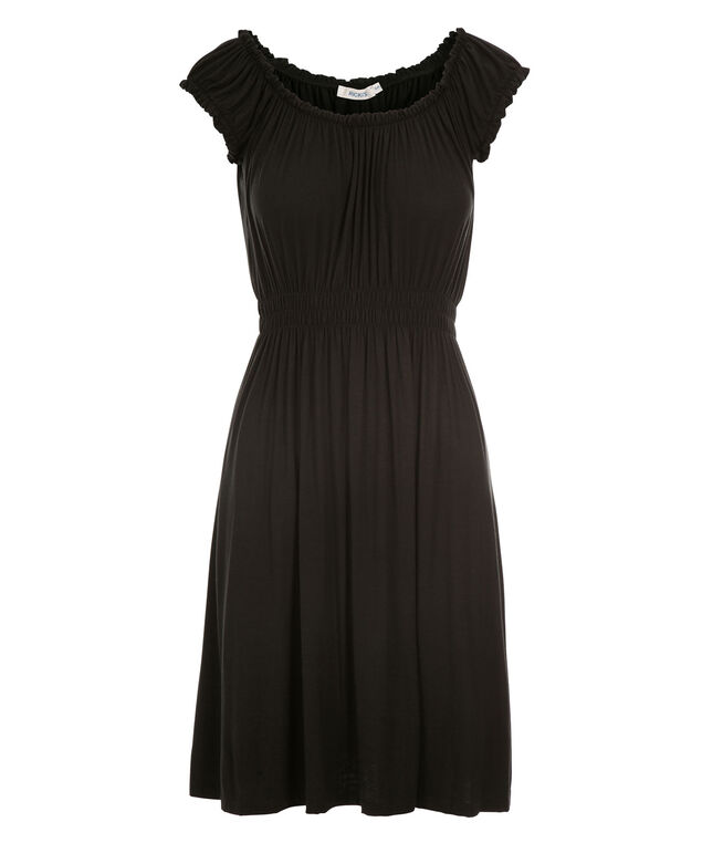 Smocked Waist Dress, Black, hi-res