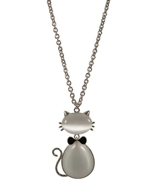 Cateye Cat Pendant Necklace, Grey/Black/Rhodium, hi-res
