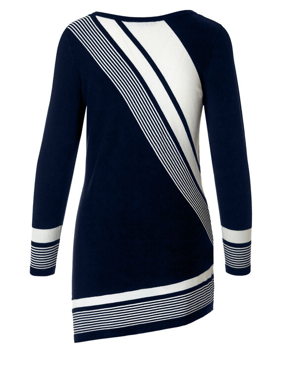 Striped Colour Block Tunic Sweater, Navy/White, hi-res