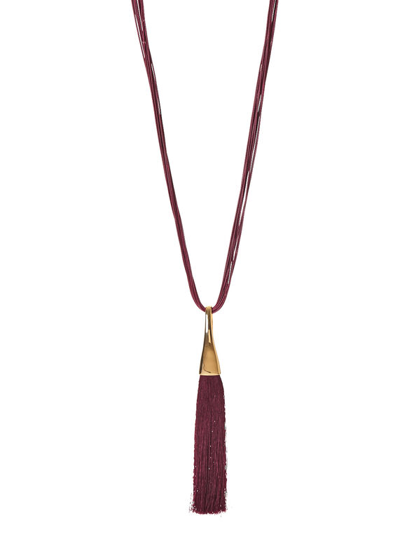 Claret Tassel Cord Necklace, Claret/Gold, hi-res
