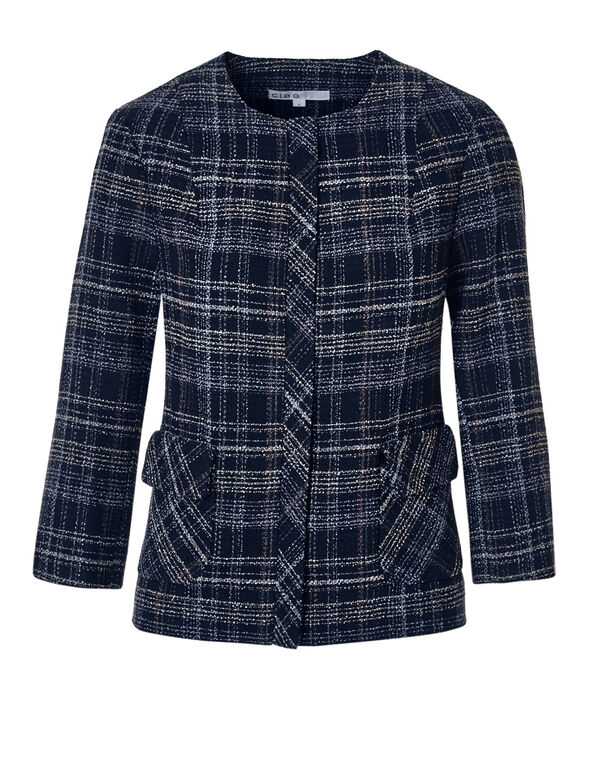 Navy Tweed Crop Blazer, Navy/White/Blue Cloud, hi-res