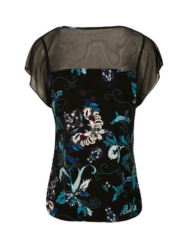 Short Sleeve Illusion Neck Bubble, Turquoise Print, hi-res