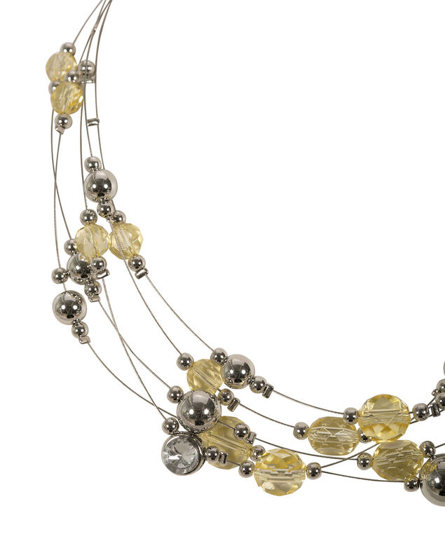 Multi Row Wire Necklace, Yellow/Rhodium, hi-res