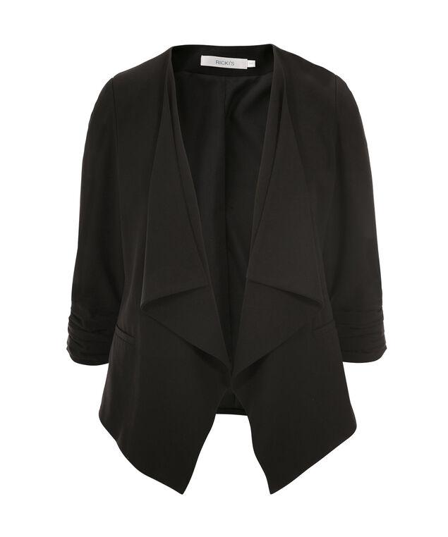 Woven Drape Front Blazer, Black, hi-res