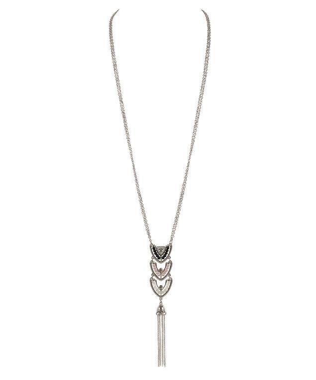 Arrow Pendant Necklace, Pink/Black/Rhodium, hi-res