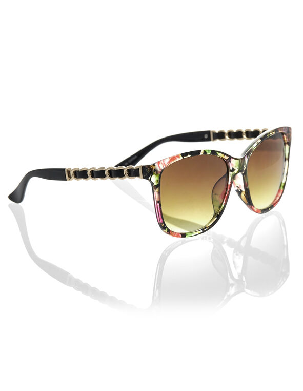Black Floral Wayfarer Sunglasses, Black, hi-res