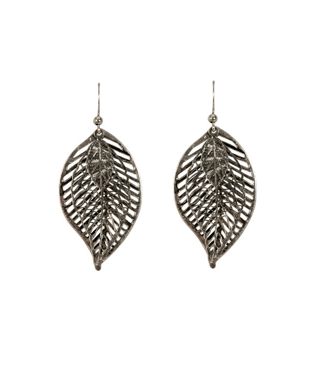 Leaf Trio Earring, Burnished Silver, hi-res