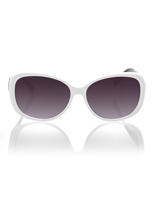 White Polkadot Sunglasses, White/Black, hi-res