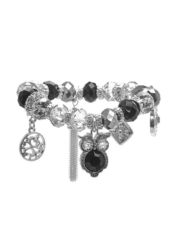 Black Bead Stretch Bracelet, Silver/Black, hi-res