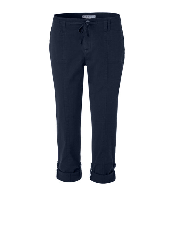 Navy Poplin Roll Up Pant, Navy, hi-res