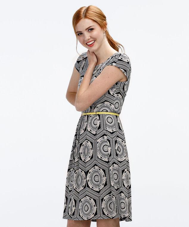 Puff Print Dress, Black/Milkshake, hi-res