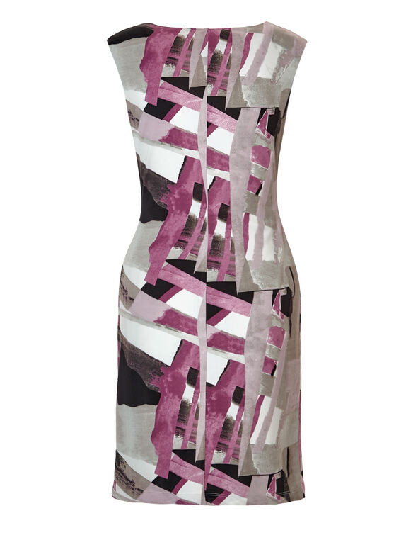 Pink Print Shift Dress, Ivory/Pink/Black/Stone, hi-res