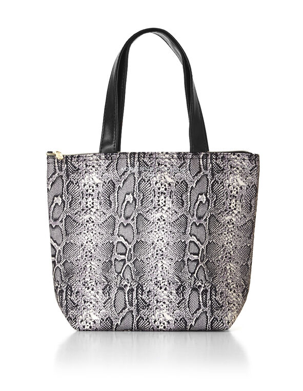 Snake Print Lunch Tote, Black/Ivory, hi-res