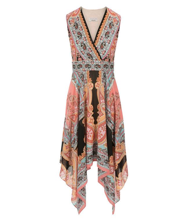 Robbie Bee Scarf Print Dress, Orange/Pink Print, hi-res