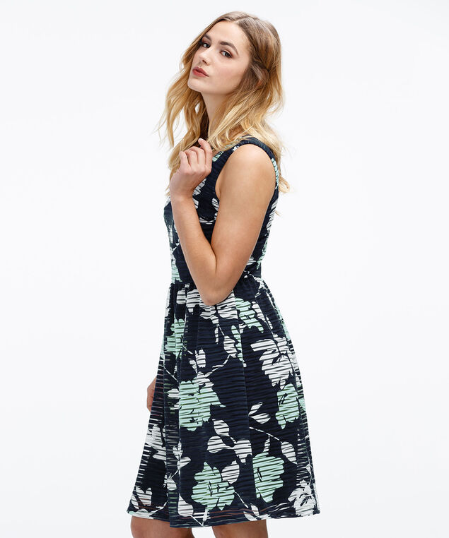 Textured Stripe Dress, Navy/Mint Print, hi-res