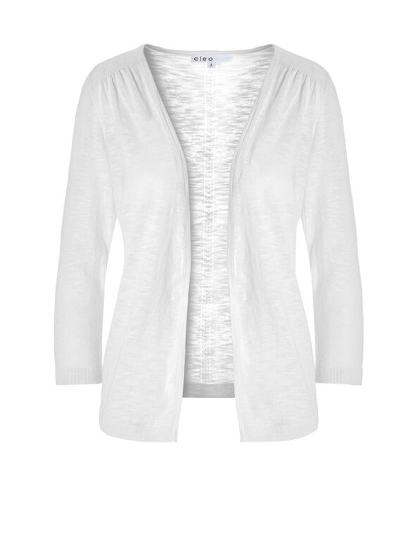 White Leightweight Knit Cardigan, White, hi-res