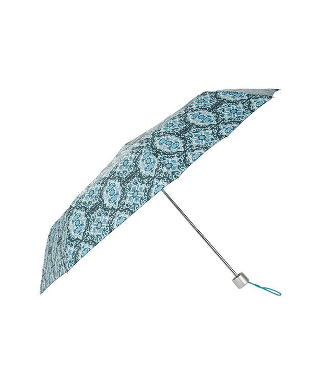 Medallion Print Umbrella, Teal Print, hi-res