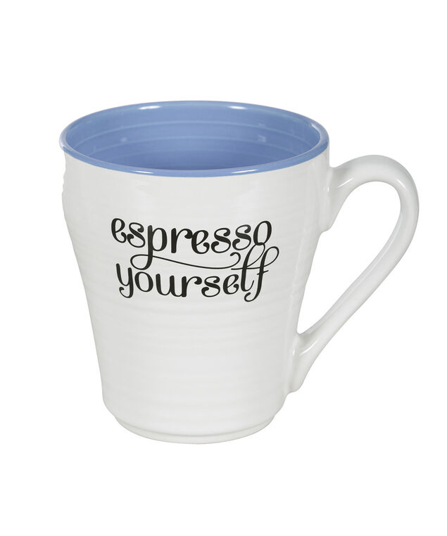 Espresso Yourself Coffee Mug, White/Blue, hi-res