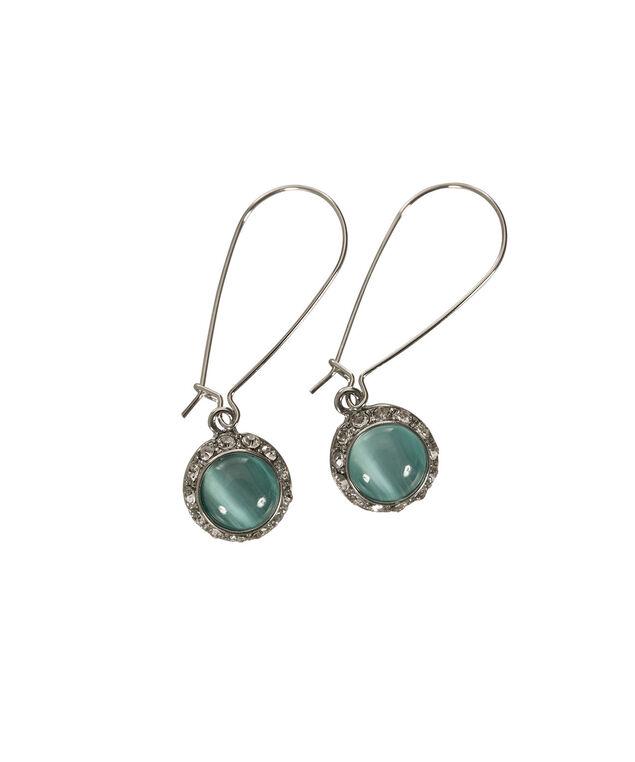 Round Cateye Earring, Blue/Rhodium, hi-res