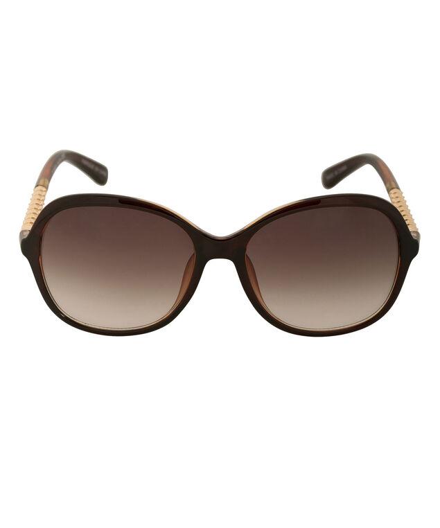 Textured Arm Sunglasses, Brown/Gold, hi-res