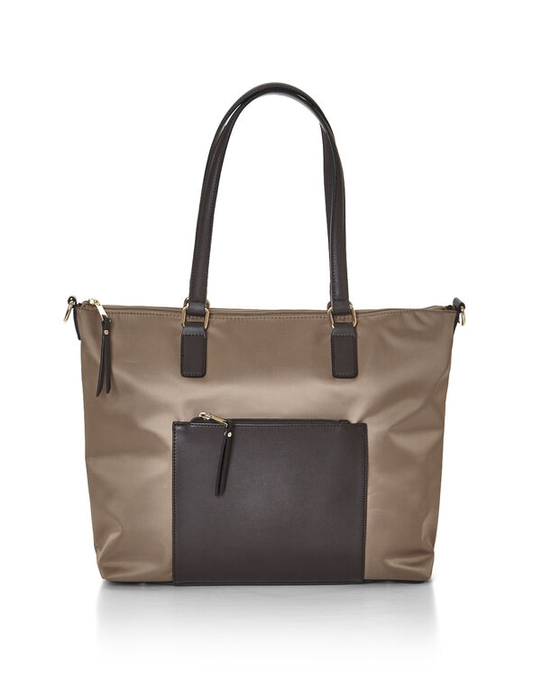 Tan Nylon Work Tote, Tan/Brown, hi-res
