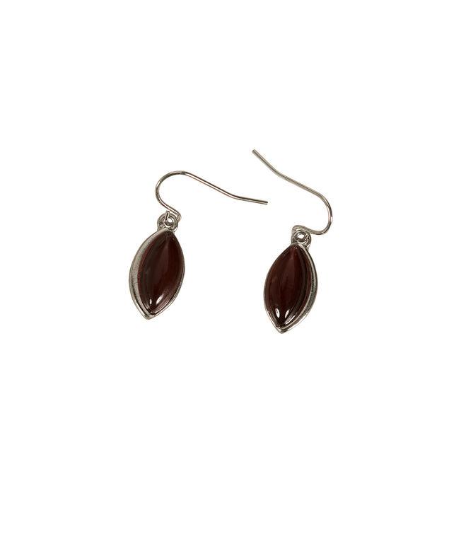 Oval Cateye Earring, Deep Cranberry/Rhodium, hi-res