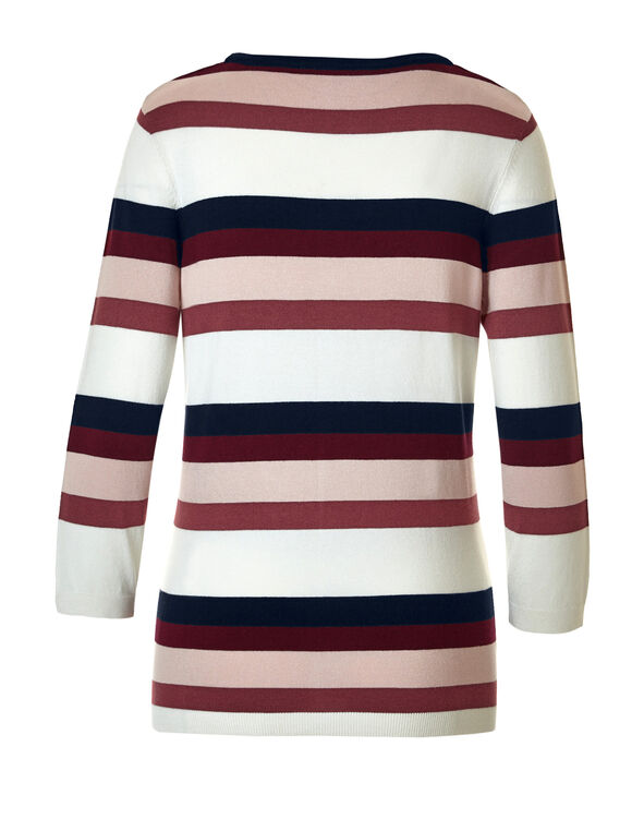 Dusty Pink Stripe Pullover Sweater, Dusty Pink/Navy/Lipstick, hi-res