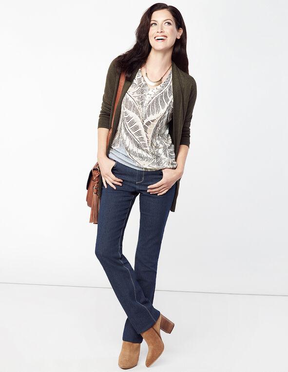 Studded Print Sweater, Natural/Blue, hi-res