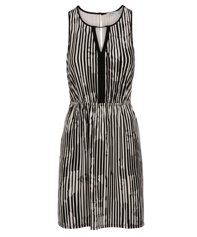 Keyhole Stripe Dress, Black/White Stripe, hi-res