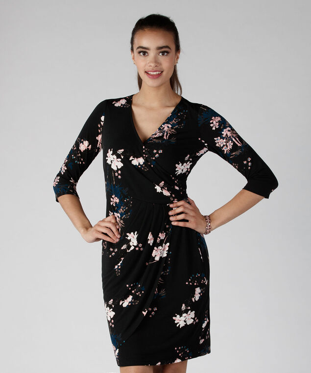 Side Wrap Dress, Black Print, hi-res