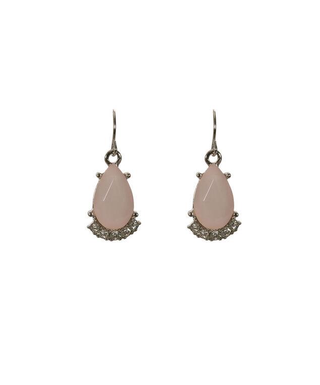Teardrop Facet Earring, Misty Pink/Rhodium, hi-res