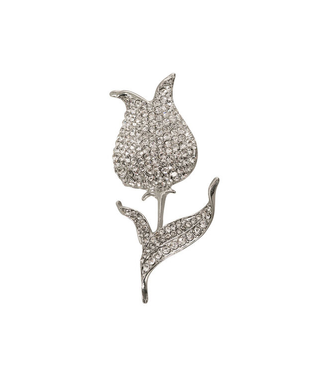Crystal Flower Brooch, Rhodium, hi-res