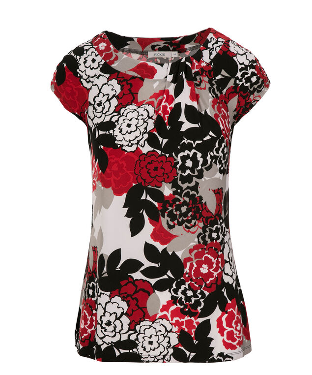 Ruched Sleeve Pintuck Neck, Red Print, hi-res