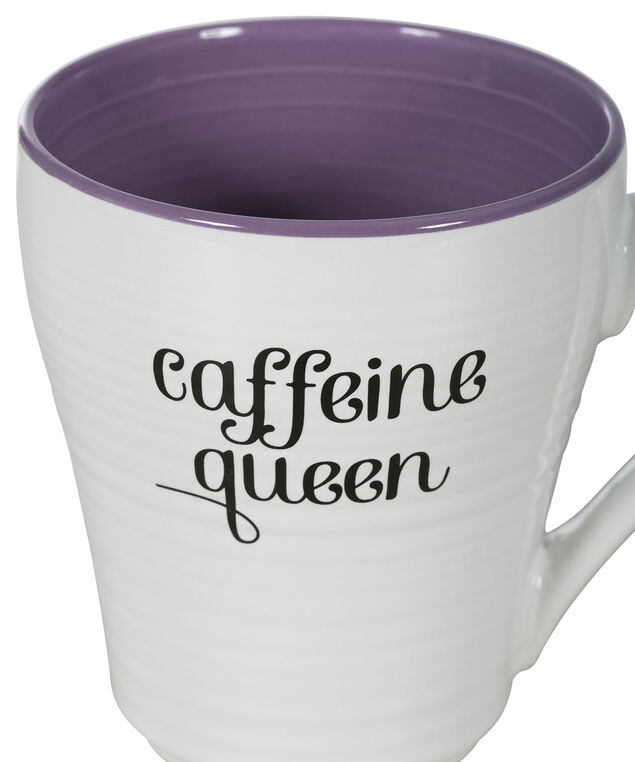 Caffeine Queen Coffee Mug, White/Purple, hi-res