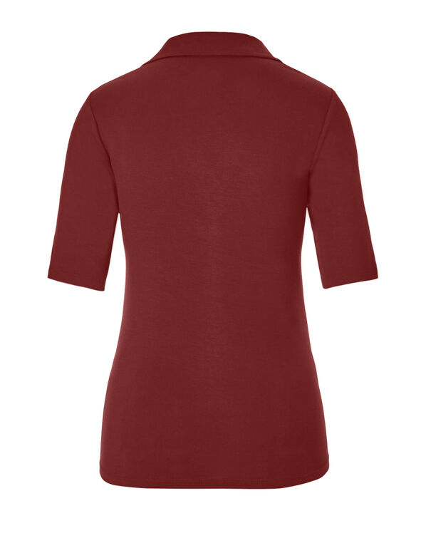 Chili Collared V-Neck Tee, Chili, hi-res