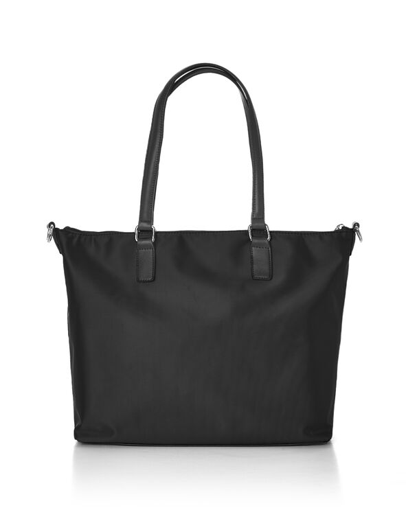 Black Nylon Work Tote, Black, hi-res
