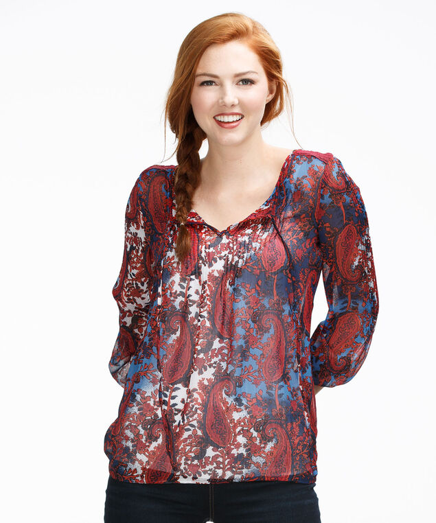 Long Sleeve Pintuck Blouse, Red Print, hi-res