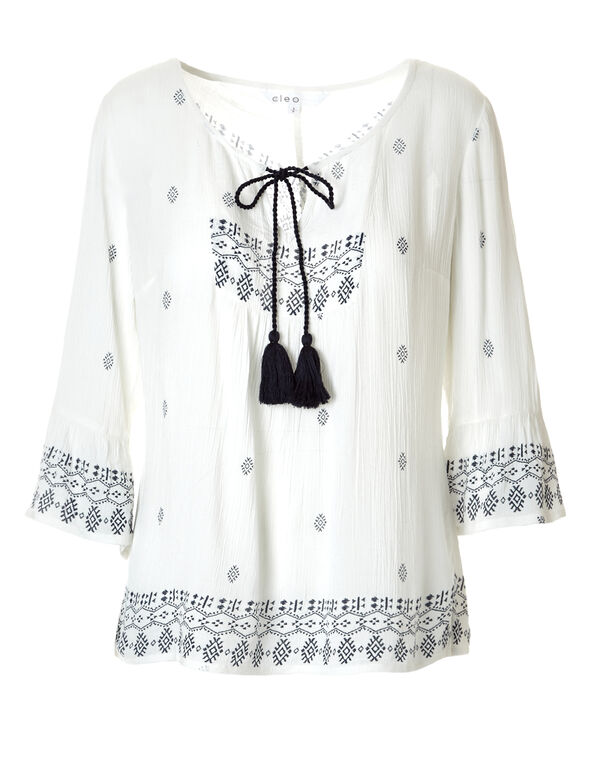 White Ruffle Sleeve Peasant Blouse, White/Navy, hi-res