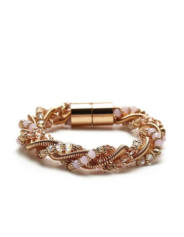 Pink Rose Gold Twist Bracelet, Rose Gold/Pink, hi-res