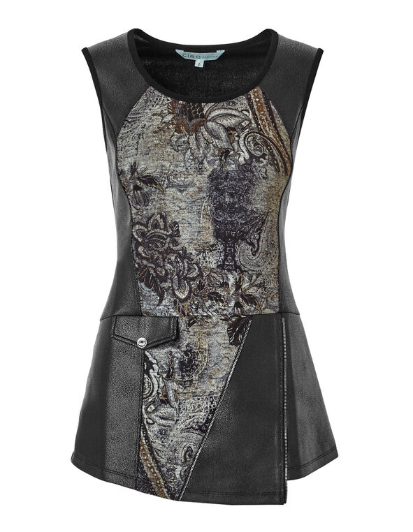 Paisley Hacci Knit Tunic, Black/Grey/Saffron, hi-res