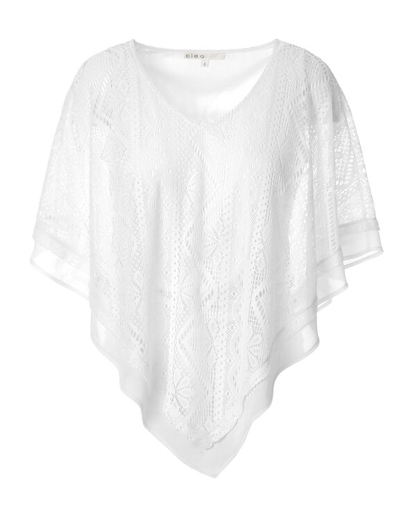White Lace V-Neck Caftan, White, hi-res
