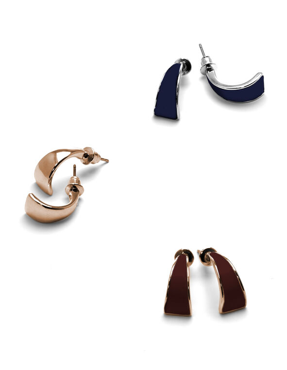 Mixed Curved Earring Set, Rose Gold/Silver/Claret/Navy, hi-res