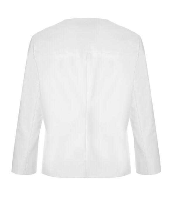 White Collarless Blazer, White, hi-res